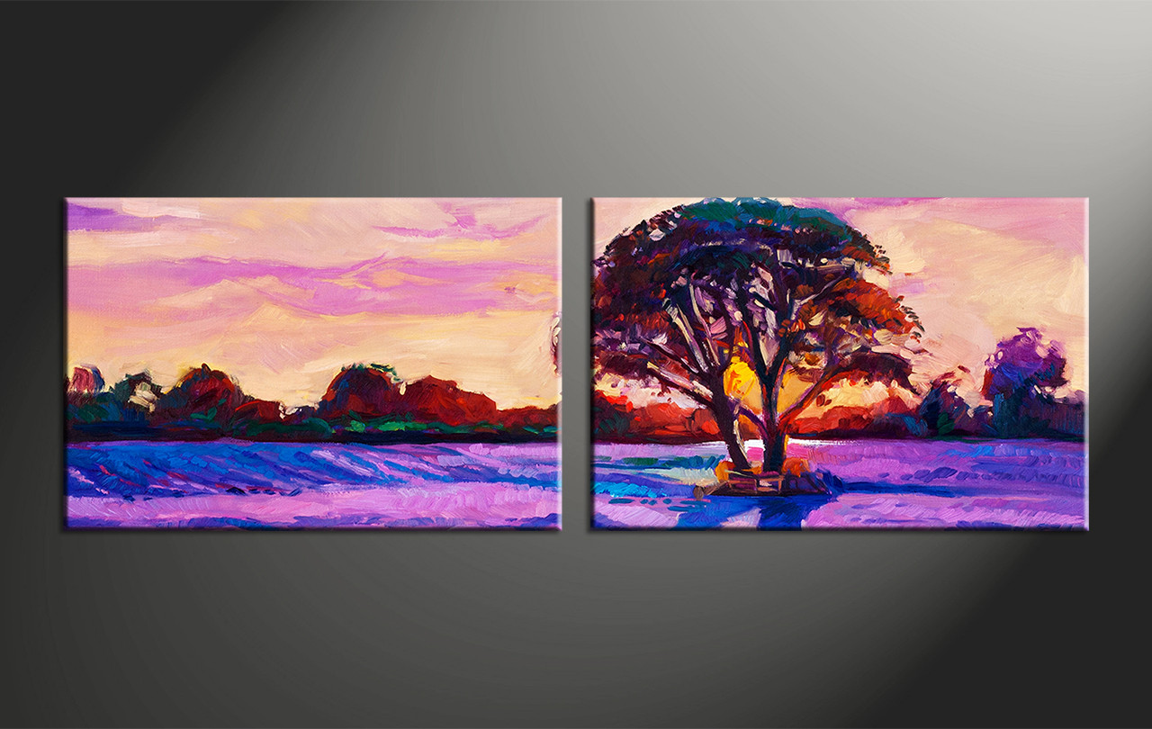 2 piece purple canvas landscape tree oil paintings art for Wall art pictures paintings