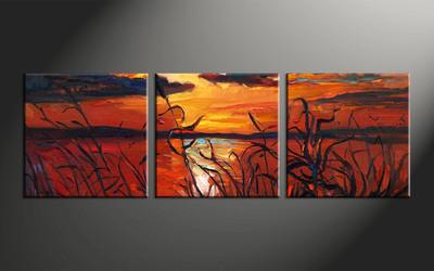 home decor, 3 piece photo canvas, ocean artwork, oil paintings large canvas, sunset wall decor