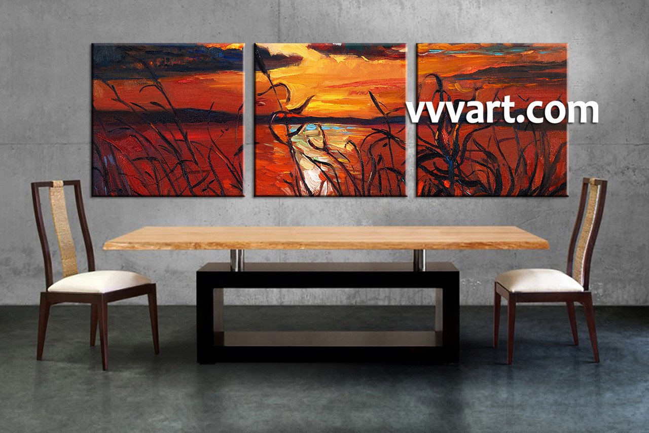 Triptych Wall Art triptych ocean sunset oil paintings red canvas wall art