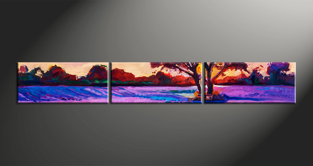 Relatively 3 Piece Purple Landscape Tree Oil Paintings Canvas Wall Art MC49