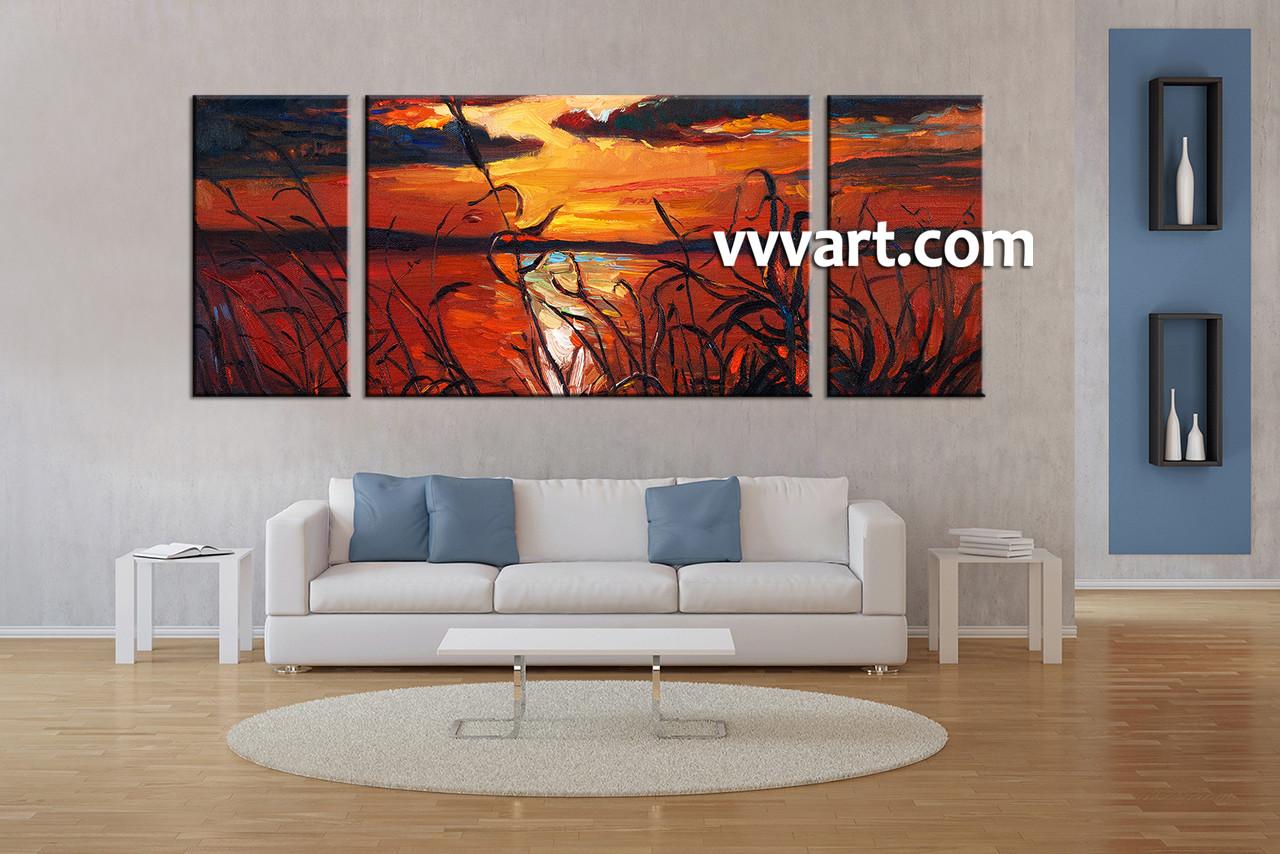 Living Room Art 3 Piece Canvas Wall Sunset Multi Panel Ocean