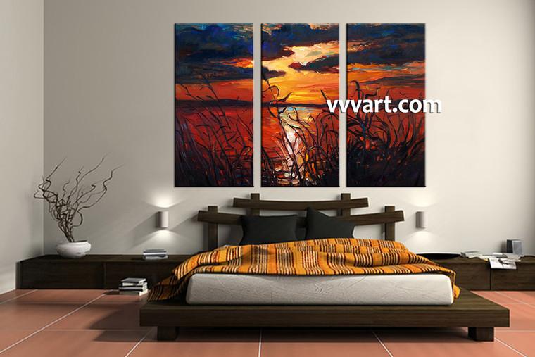 Bedroom Decor, 3 Piece Wall Art, Oil Paintings Canvas Art Prints, Sunset  Multi