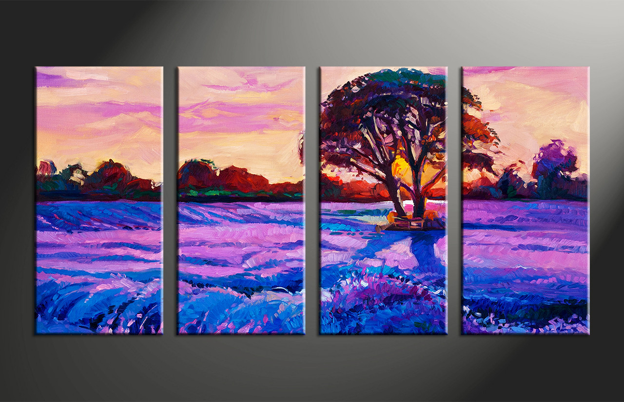 Very 4 Piece Purple Landscape Tree Oil Paintings Group Canvas WO82