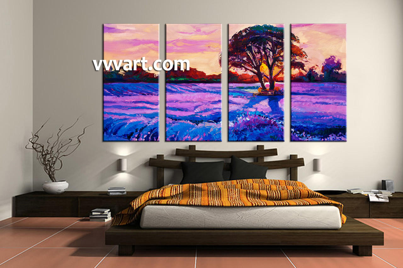 Oil Painting For Living Room 4 Piece Purple Landscape Tree Oil Paintings Group Canvas