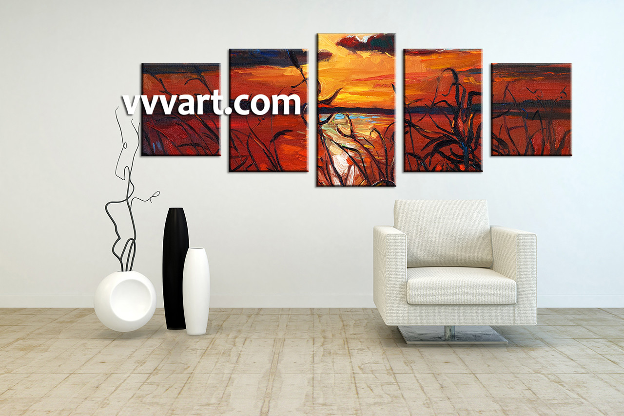 5 Piece Ocean Sunset Oil Paintings Group Red Canvas