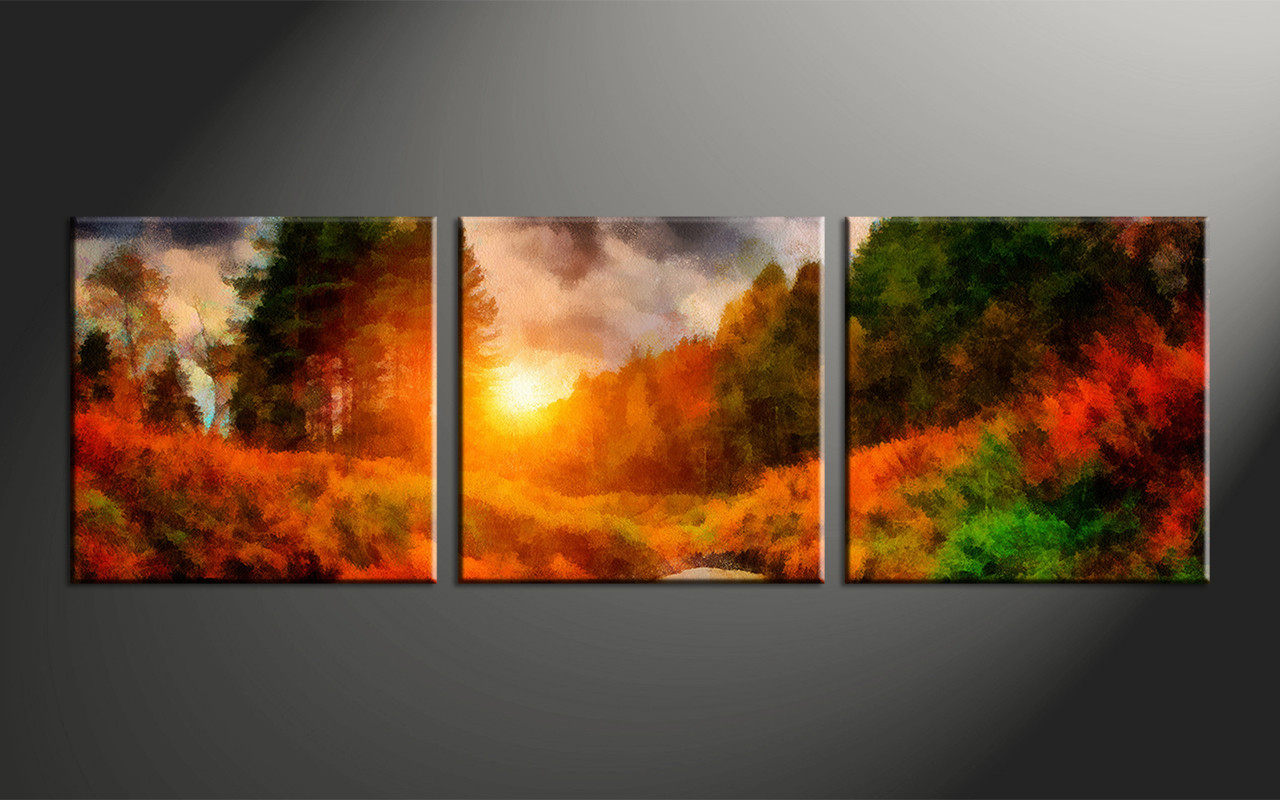 3 piece nature scenery oil paintings orange photo canvas for Buy canvas prints online
