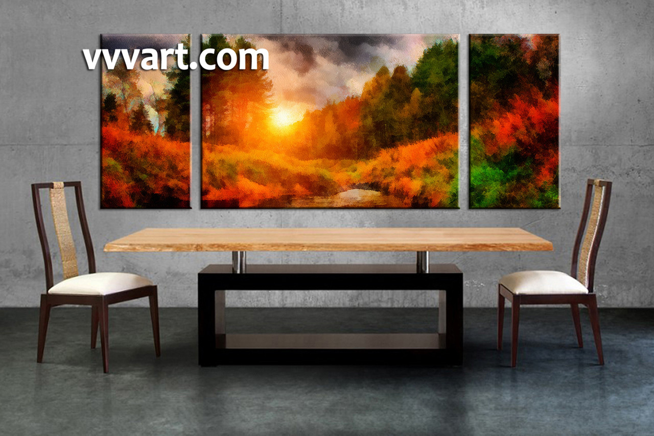 Multi Piece Canvas Wall Art triptych nature scenery oil paintings orange canvas wall art