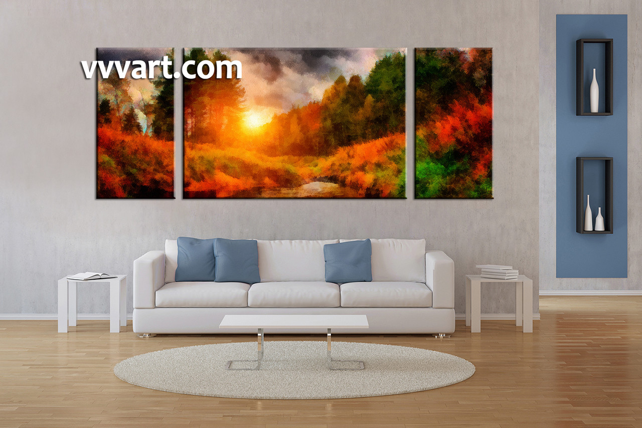 Oil Painting For Living Room Triptych Nature Scenery Oil Paintings Orange Canvas Wall Art