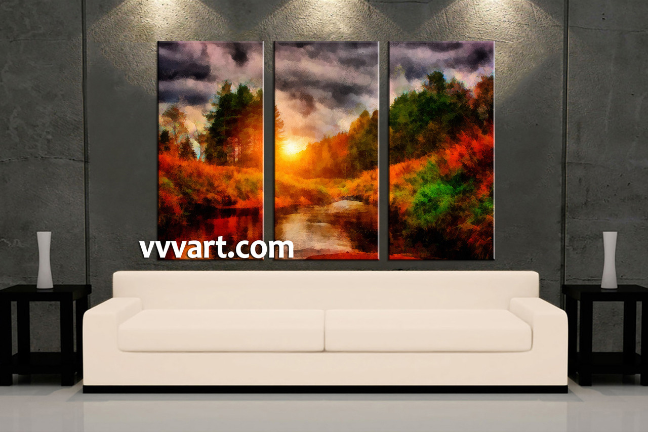 Living Room Art 3 Piece Canvas Wall Sunrise Decor Scenery Artwork