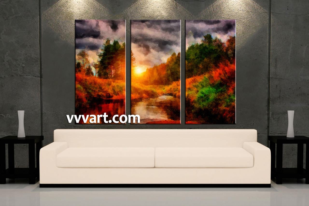 Living Room Art, 3 Piece Canvas Wall Art, Sunrise Decor, Scenery Artwork,