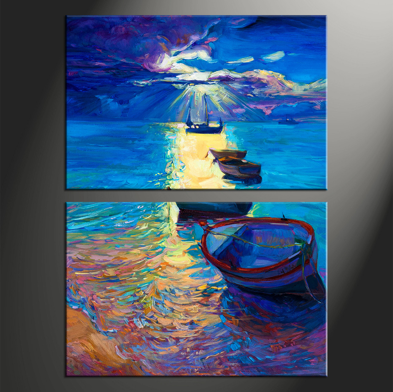 Home Decor, 2 Piece Artwork, Ship Canvas Photography, Sunrise Huge Canvas  Art,