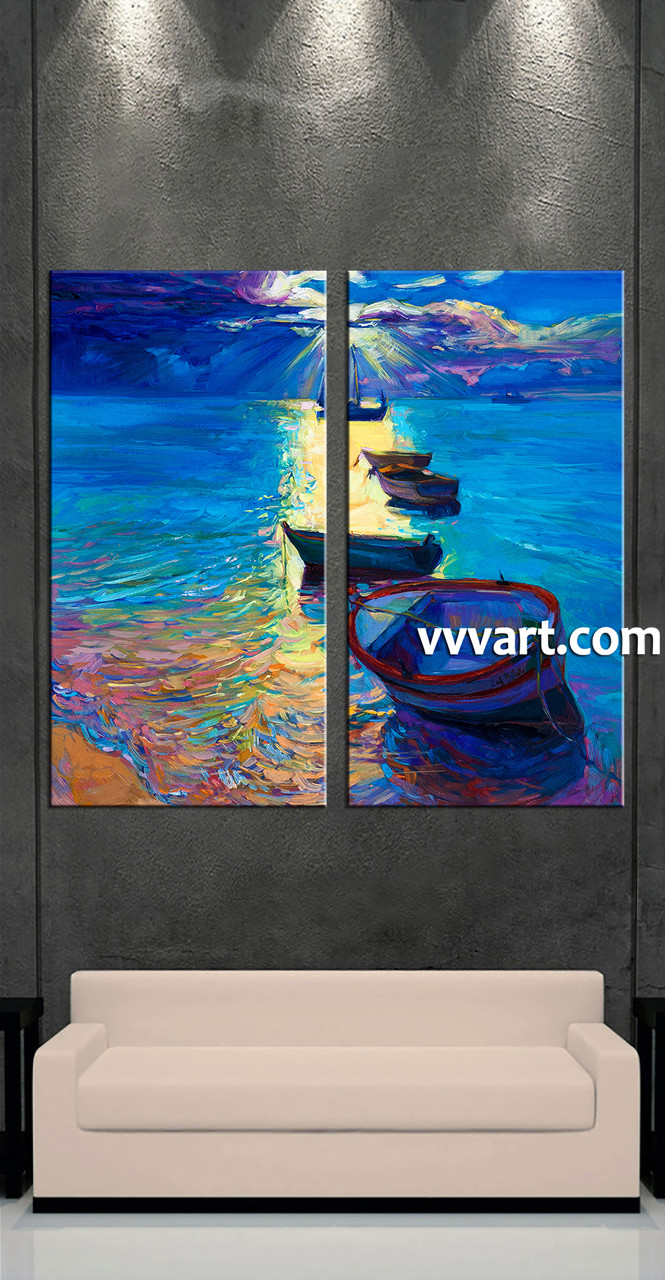 Living Room Canvas Paintings 2 Piece Blue Ocean Oil Paintings Photo Canvas