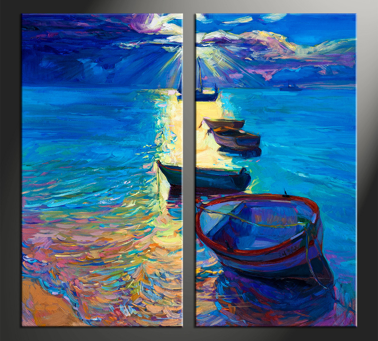 Boat Painting On Canvas Blue X