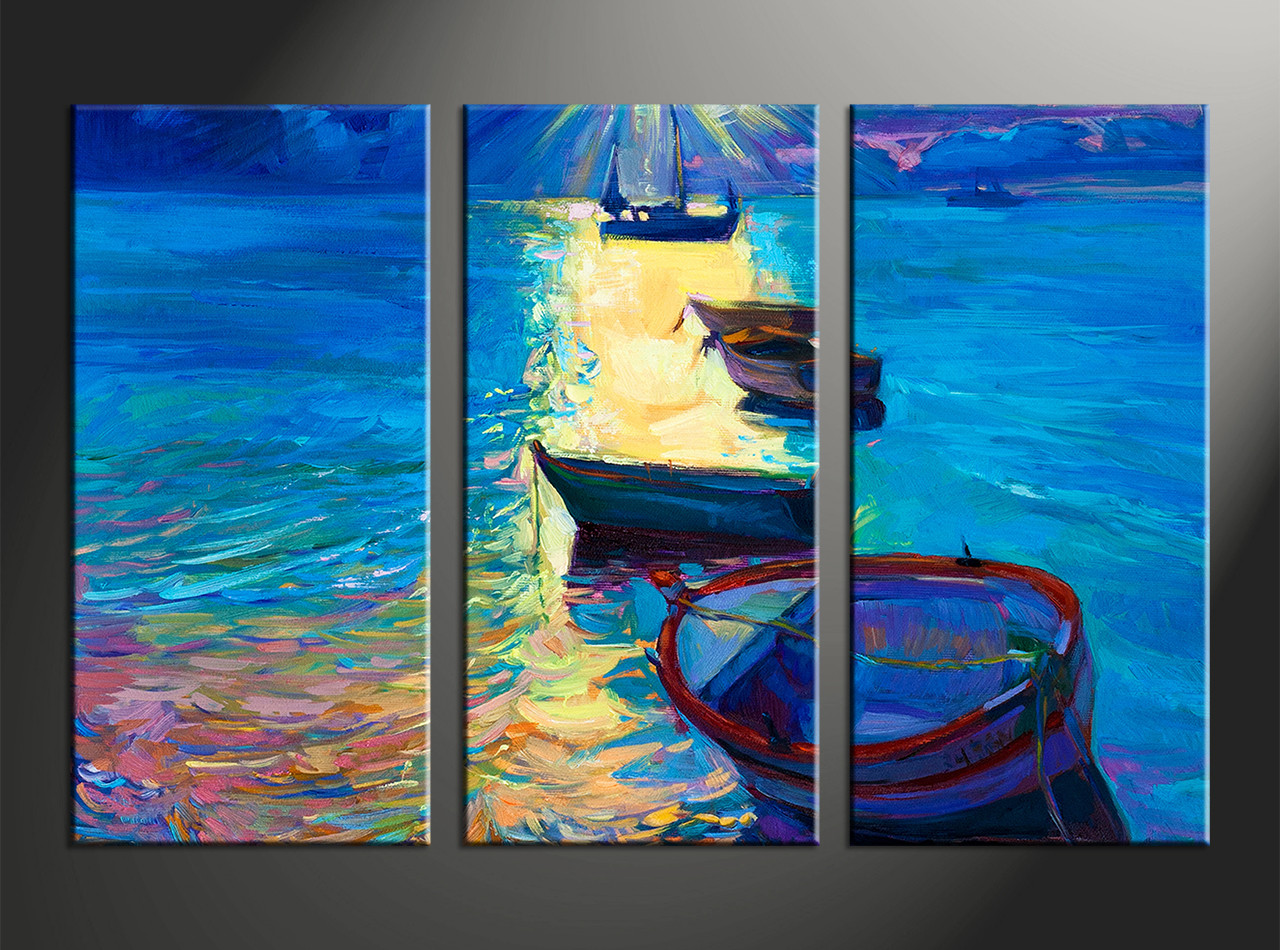 3 piece canvas blue sunrise ocean oil paintings huge pictures for Selling oil paintings online