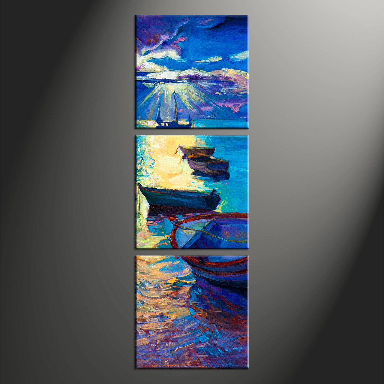 3 Piece Canvas Blue Sunrise Ocean Oil Paintings Pictures