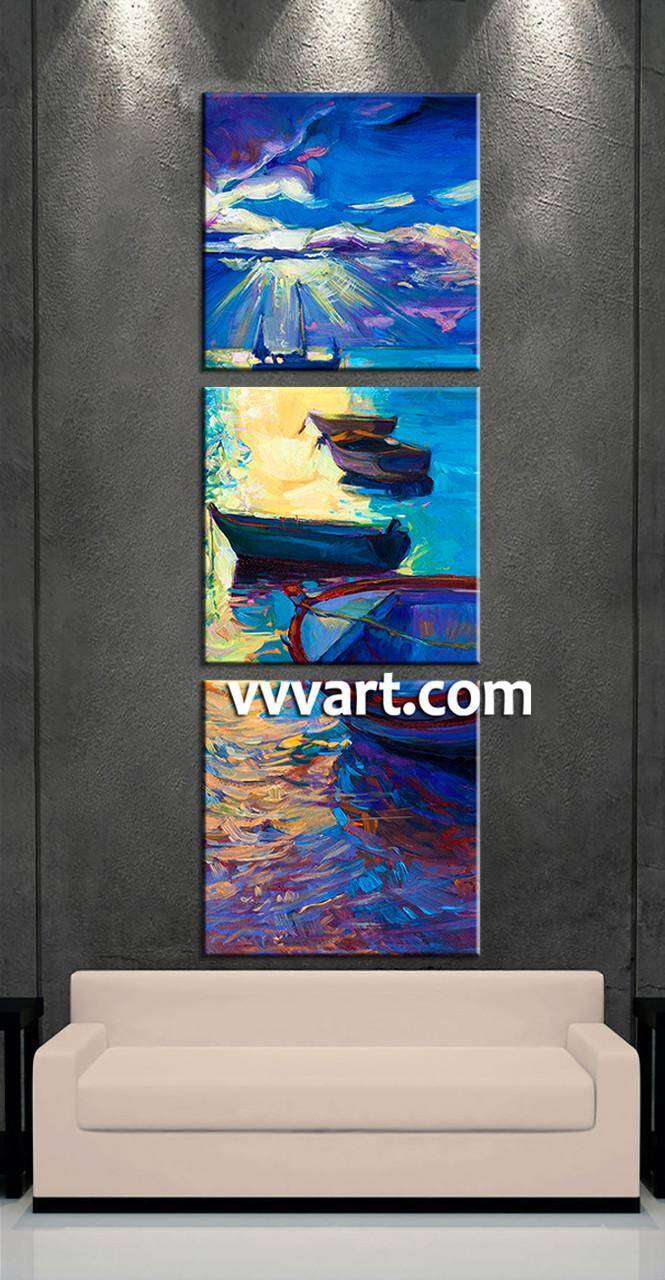 Living Room Art, 3 Piece Canvas Wall Art, Ship Multi Panel Canvas, Scenery