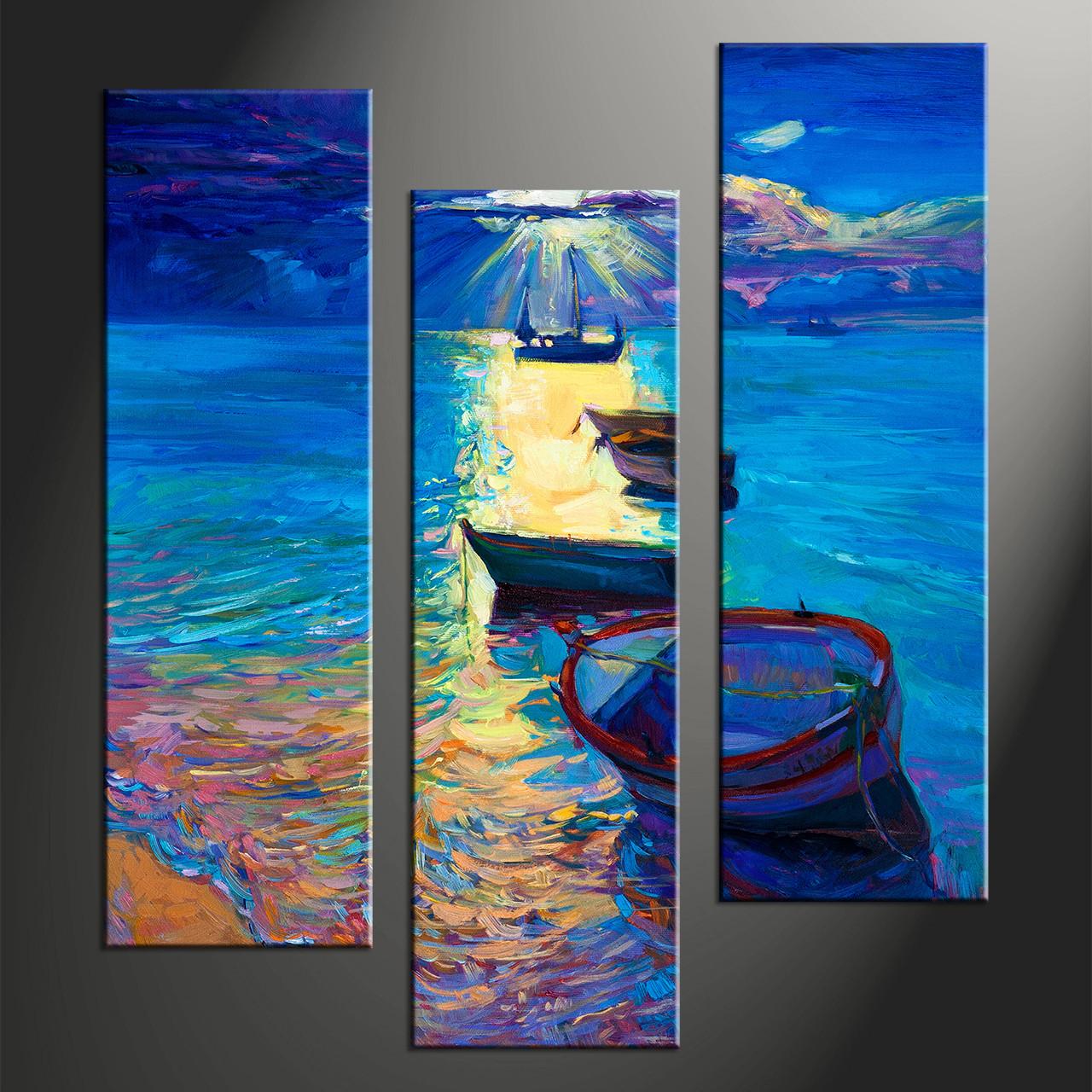 3 Piece Blue Ocean Sunrise Photo Canvas
