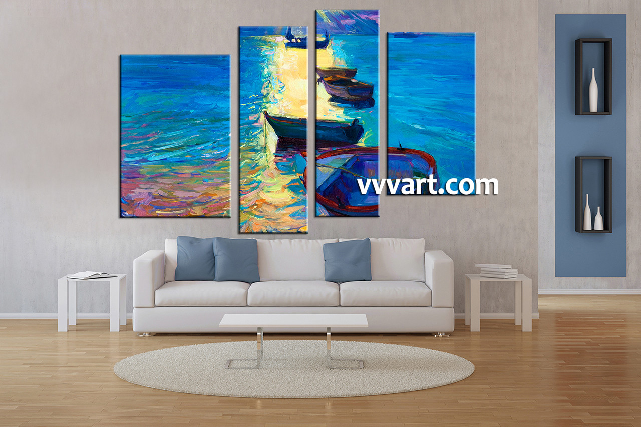 Living Room Art, 4 Piece Canvas Wall Art, Ocean Decor, Ship Pictures, Part 58