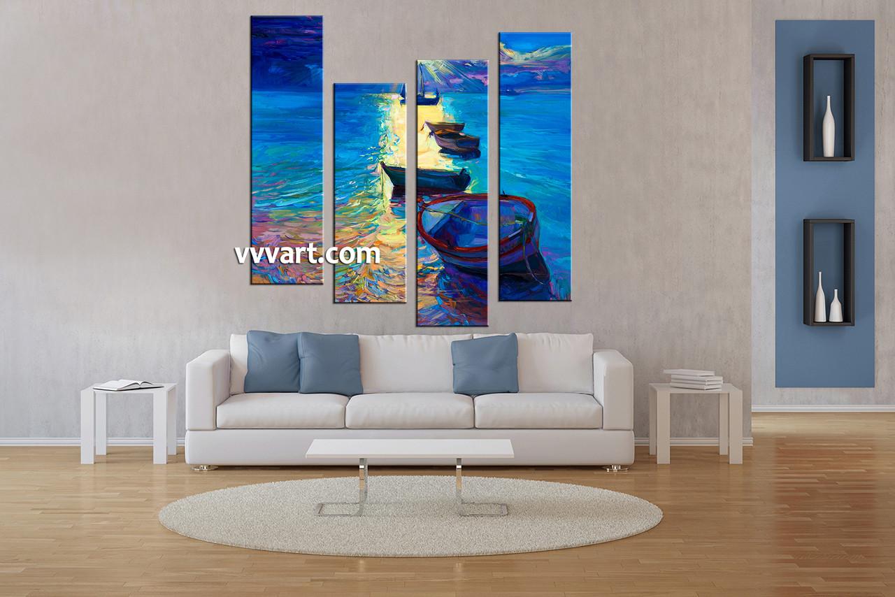 4 Piece Canvas Blue Sunrise Ocean Oil Decor