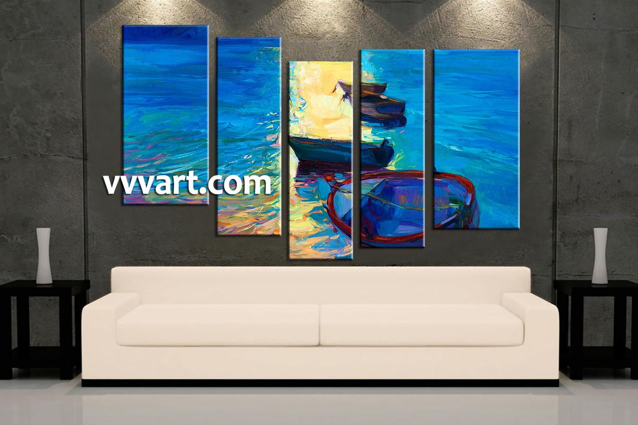 Beach Canvas Wall Art 5 piece sunrise blue ocean group canvas