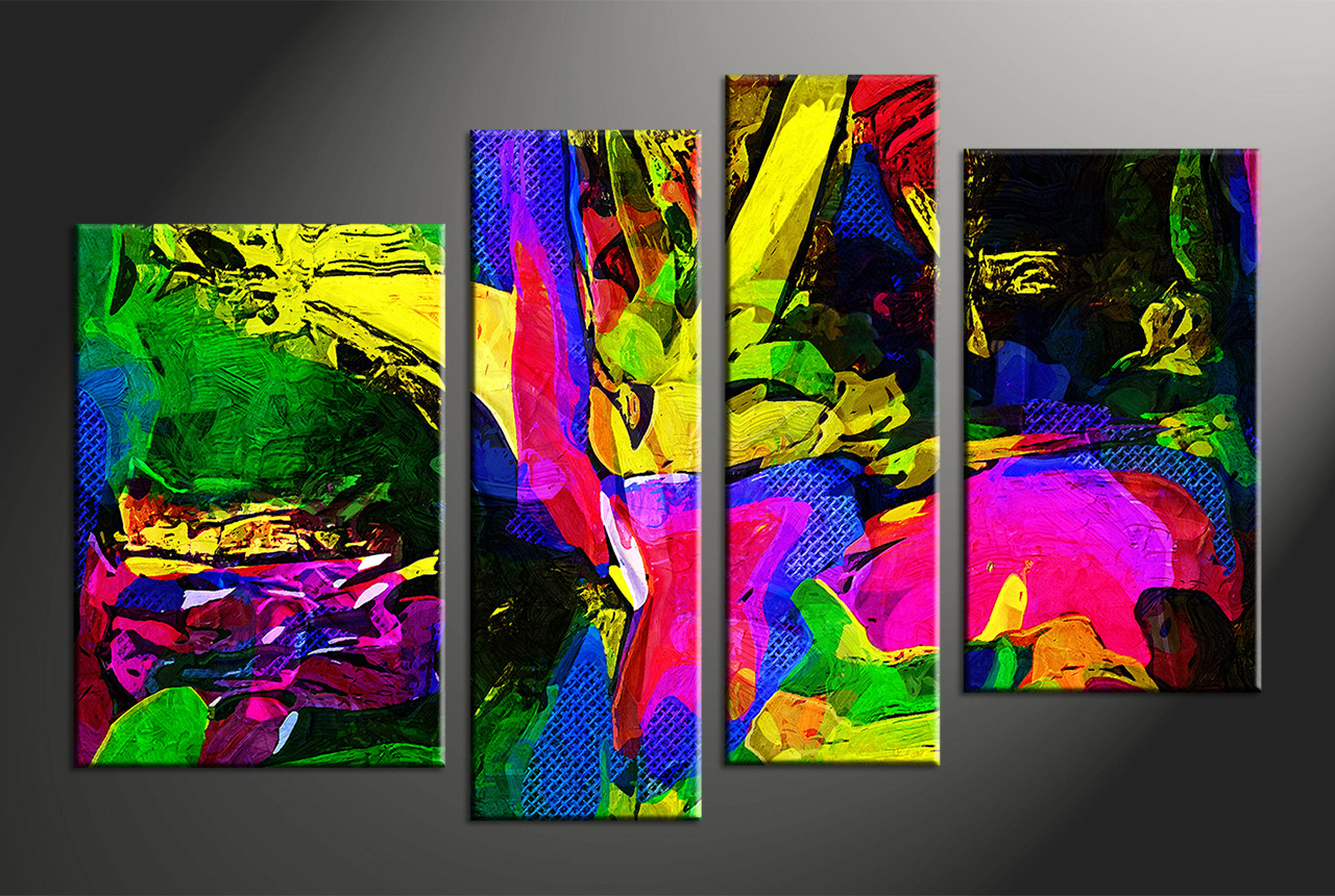Home Decor 4 Piece Canvas Wall Art Abstract Large Pictures