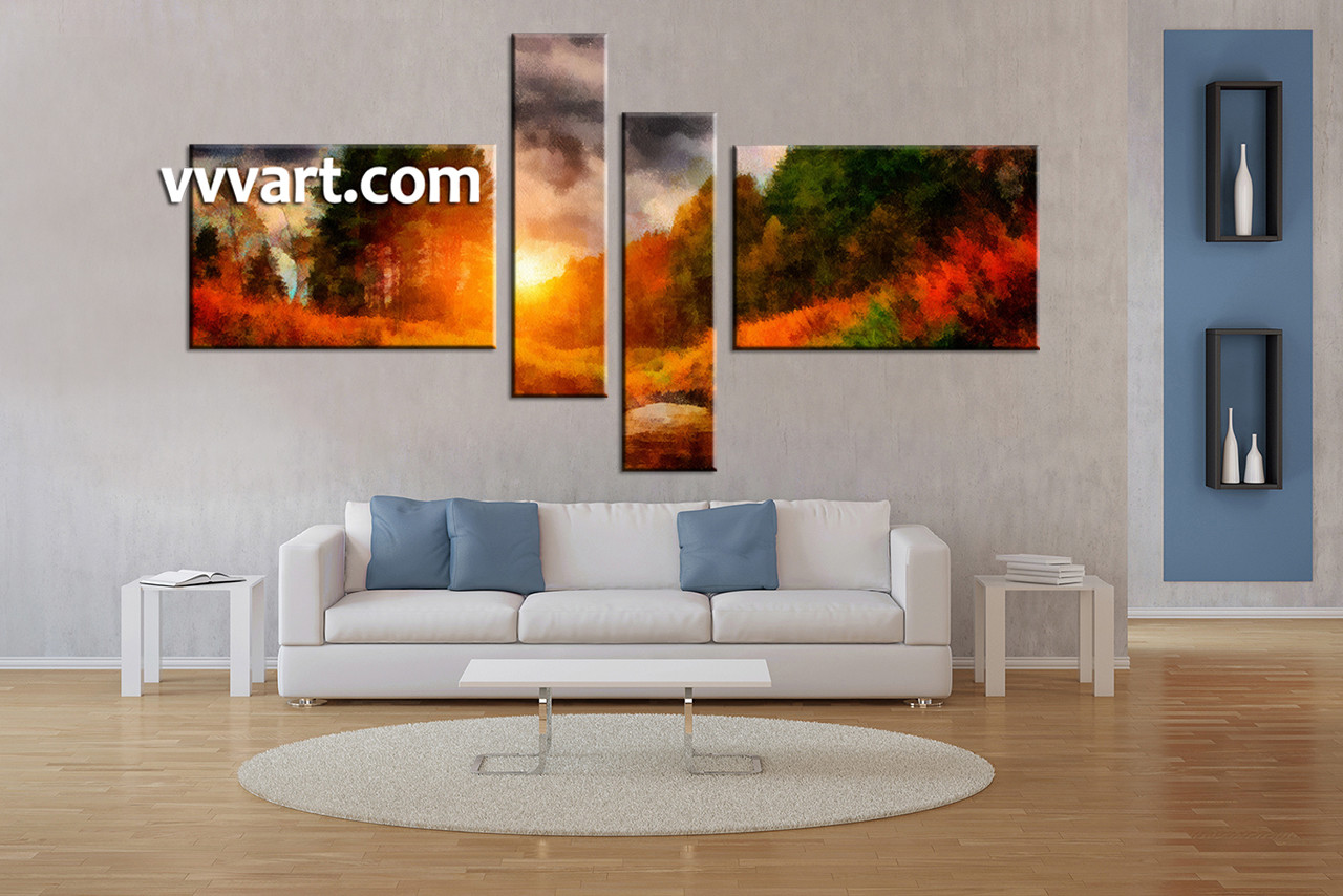 Large Living Room Paintings 4 Piece Abstract Orange Oil Paintings Large Pictures