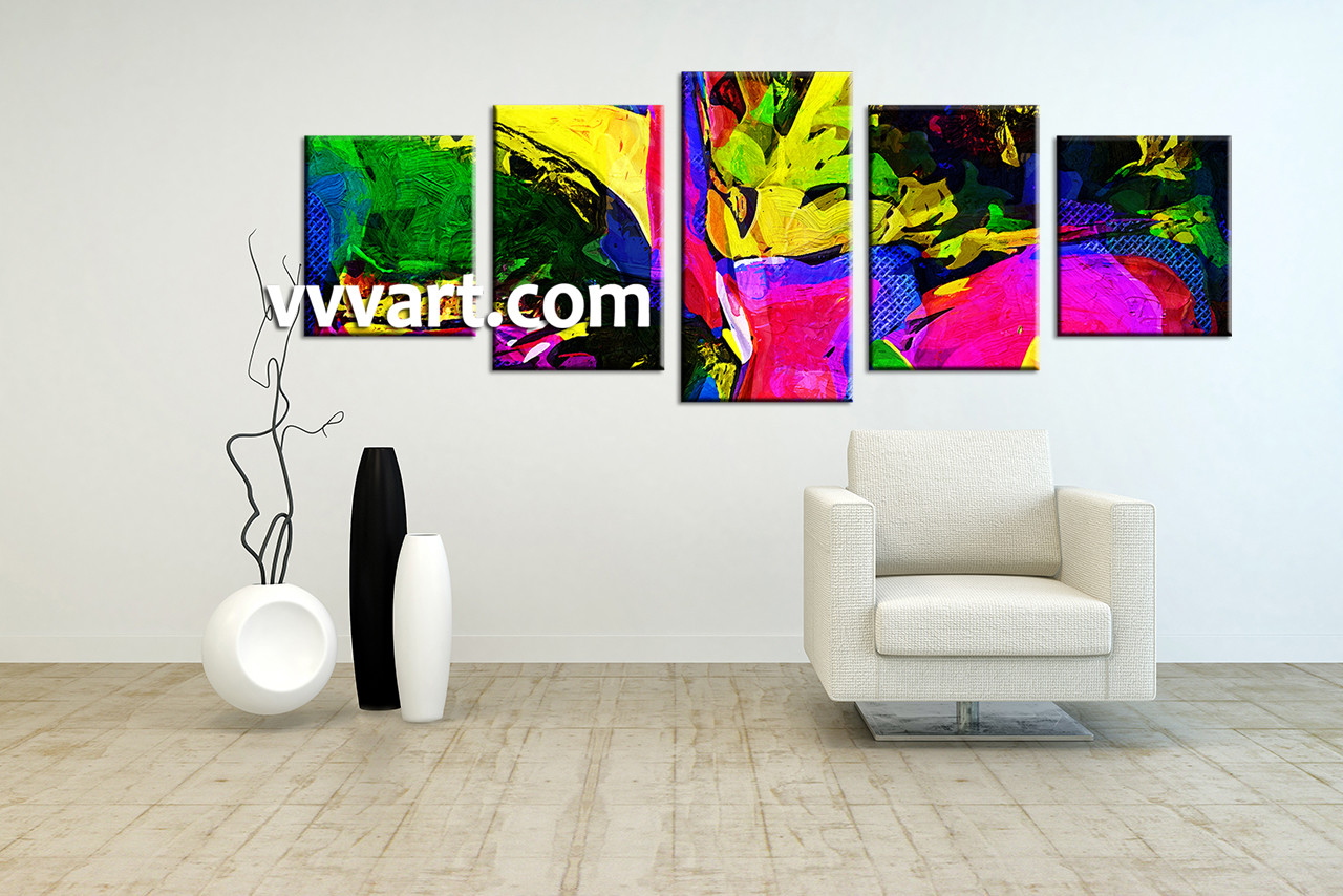 5 Piece Canvas Colorful Abstract Multi Panel Art