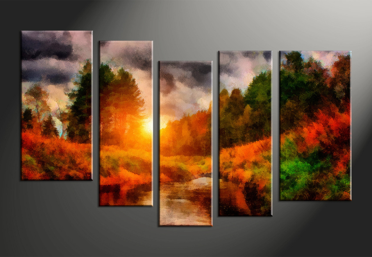 Tree Canvas Wall Art 5 piece scenery nature oil paintings orange multi panel canvas