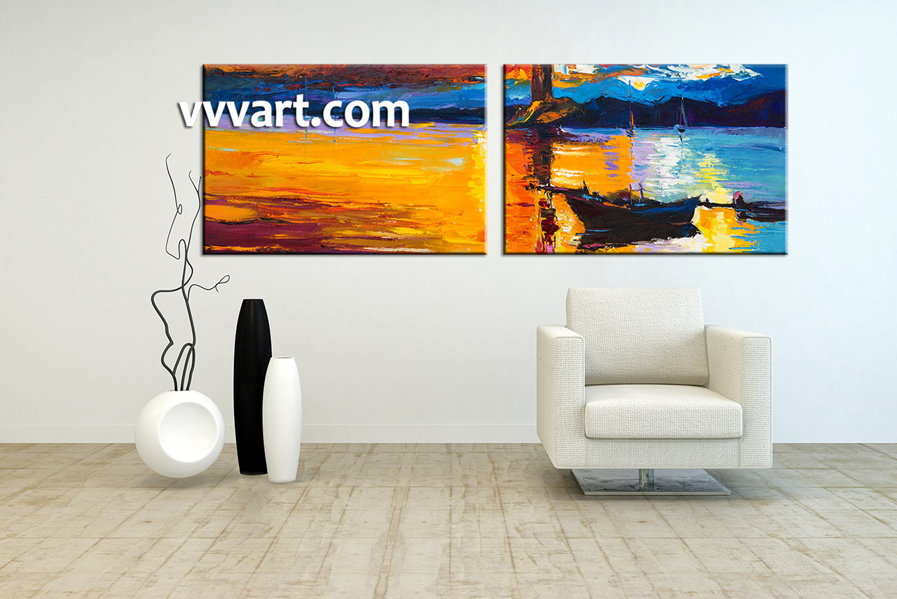 2 Piece Mountain Boat Ocean Large Orange Canvas