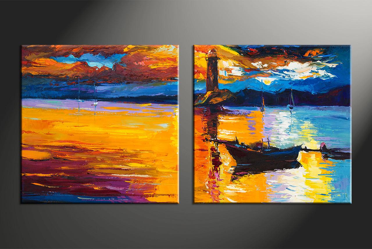 2 Piece Mountain Boat Ocean Orange Large Pictures