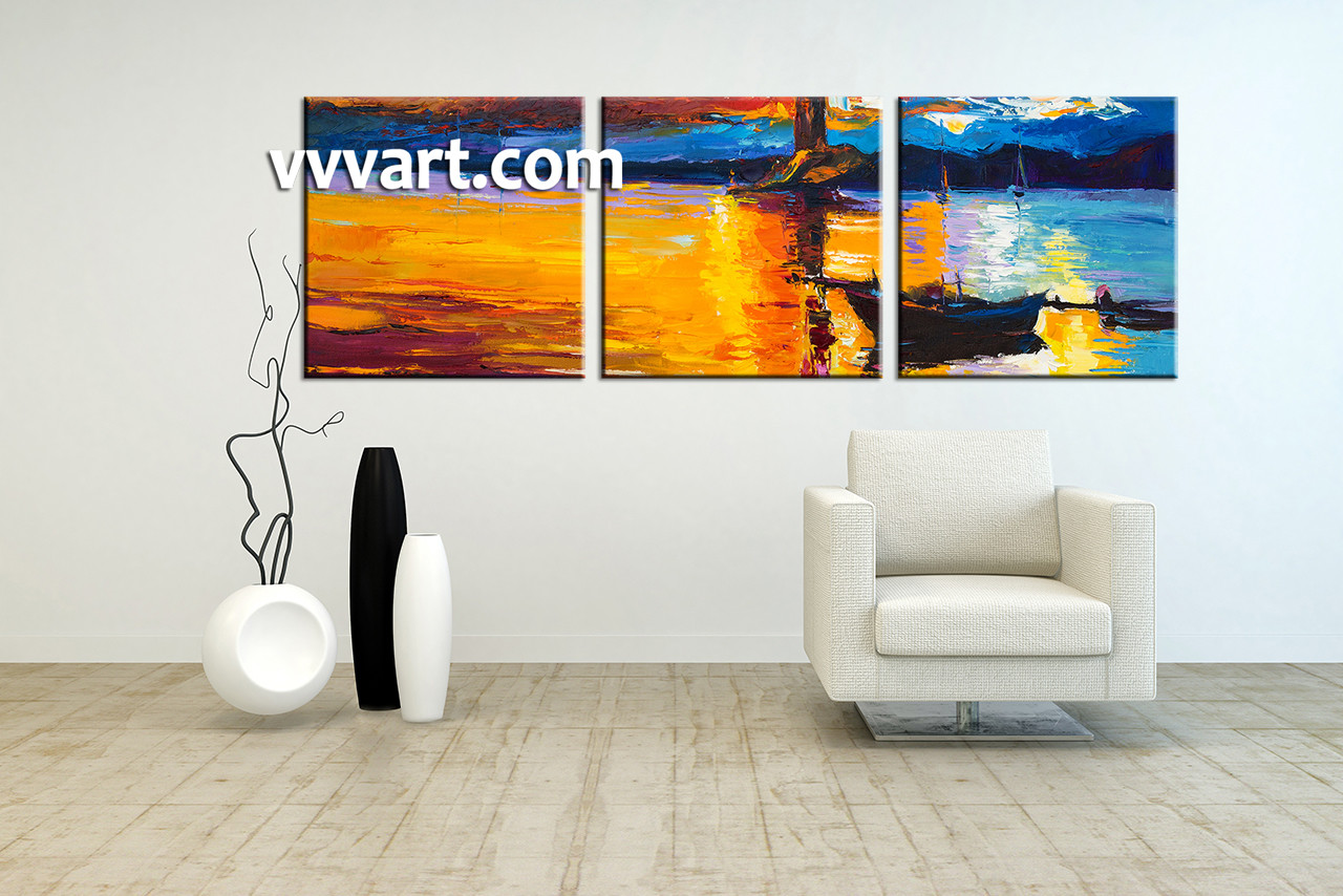 Large Living Room Paintings 3 Piece Orange Canvas Mountain Boat Ocean Art