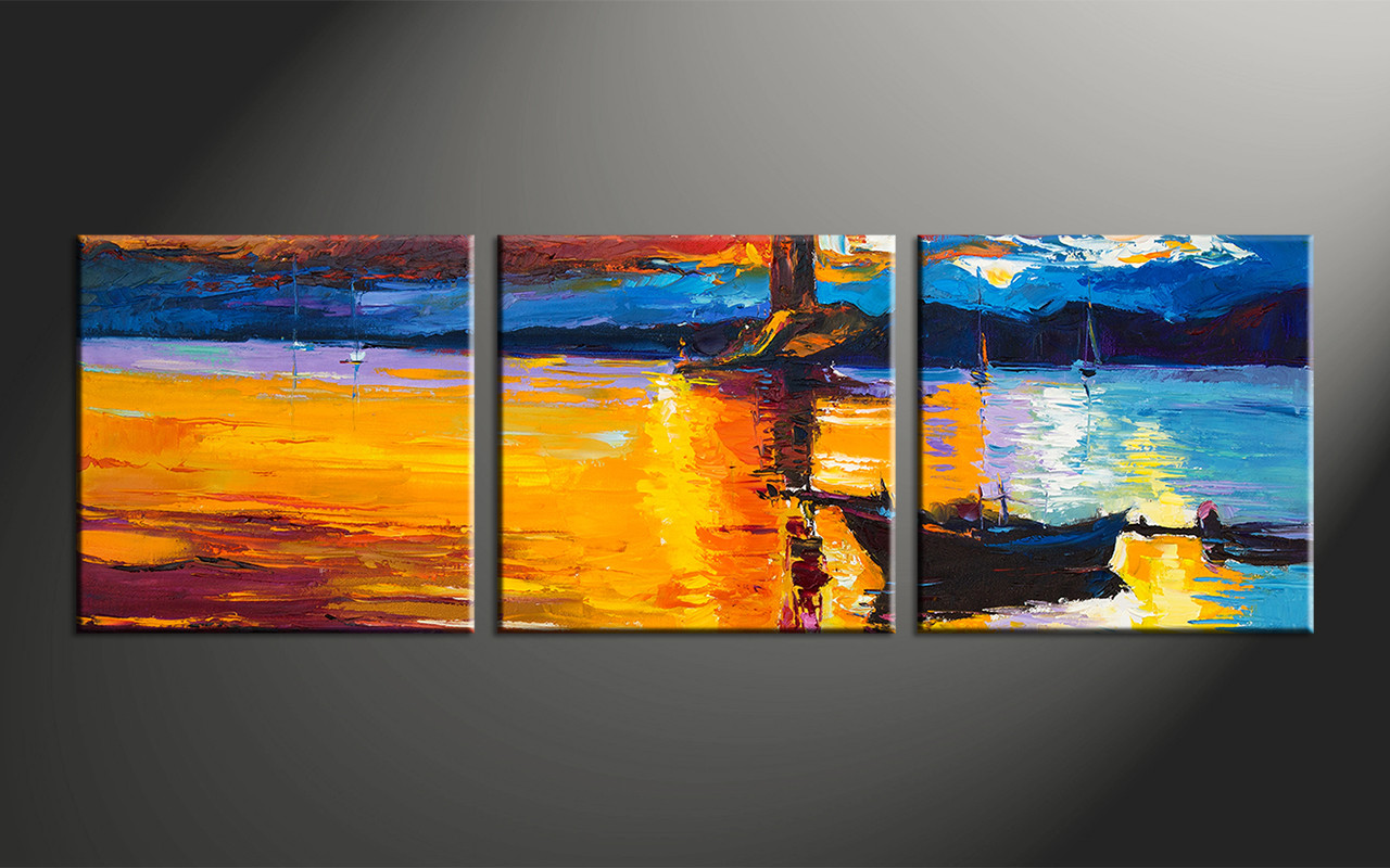 Completely new 3 Piece Orange Canvas Mountain Boat Ocean Art WY79