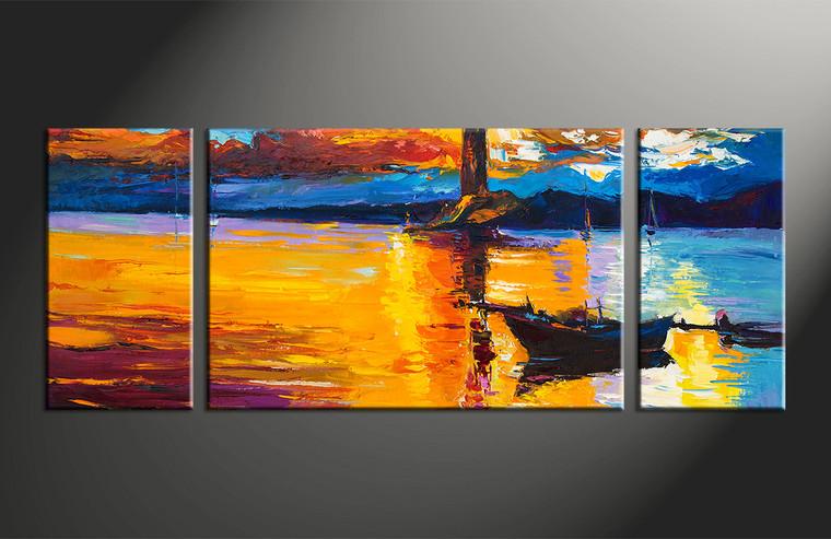 3 Piece Mountain Boat Ocean Orange Canvas Wall Art