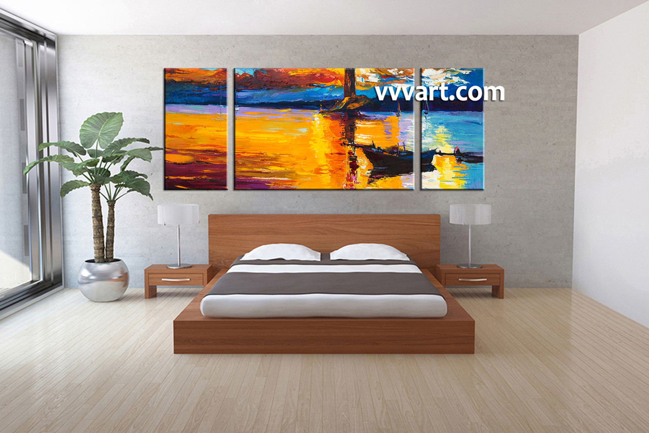 3 Piece Mountain Boat Ocean Orange Canvas Wall Art