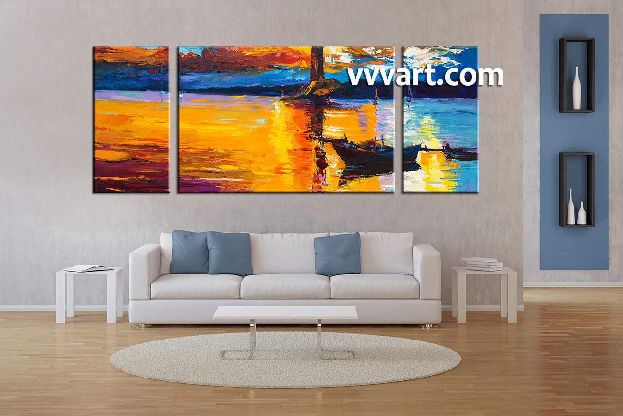 Beach Canvas Wall Art 3 piece mountain boat ocean orange canvas wall art