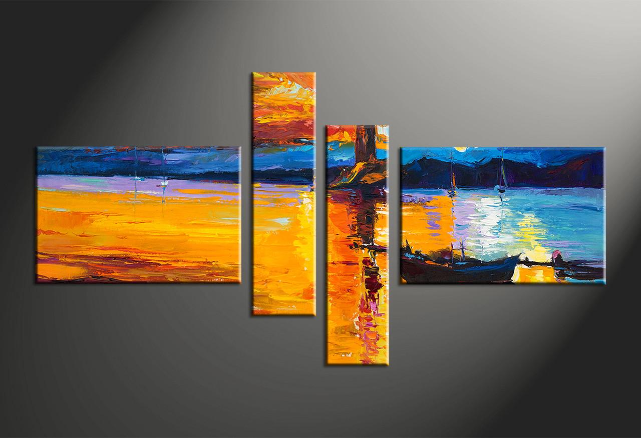 4 Piece Orange Canvas Mountain Boat Ocean Multi Panel Art