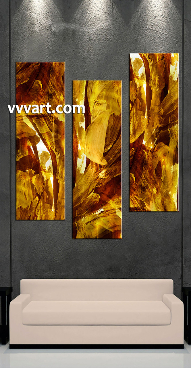 3 Home Decor Trends For Spring Brittany Stager: 3 Piece Oil Paintings Yellow Abstract Canvas Wall Art