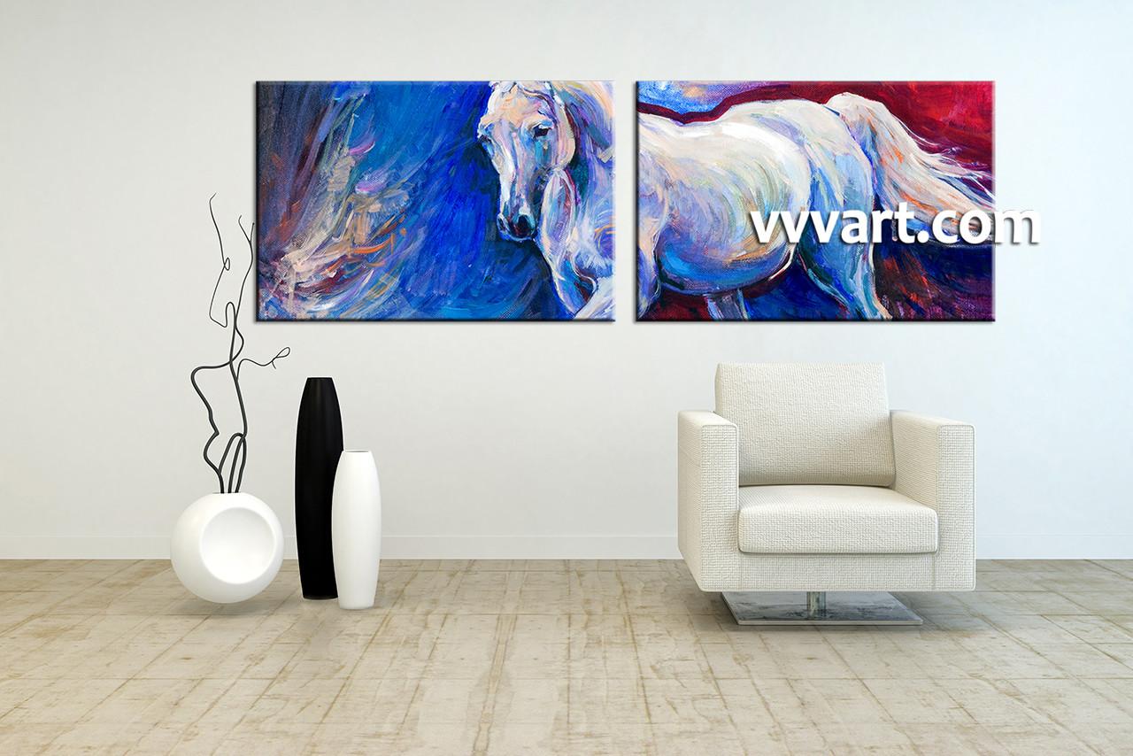 2 Piece Blue Canvas Horse Wildlife Art