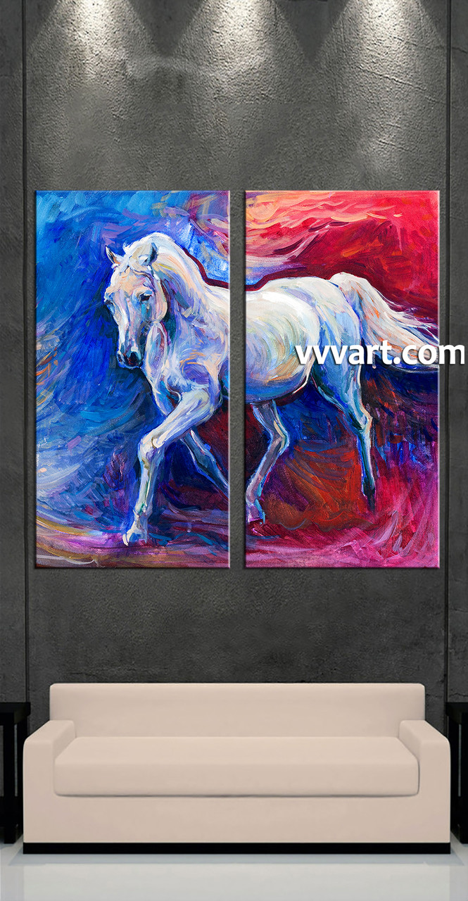 2 piece wildlife blue horse oil paintings artwork for Selling oil paintings online