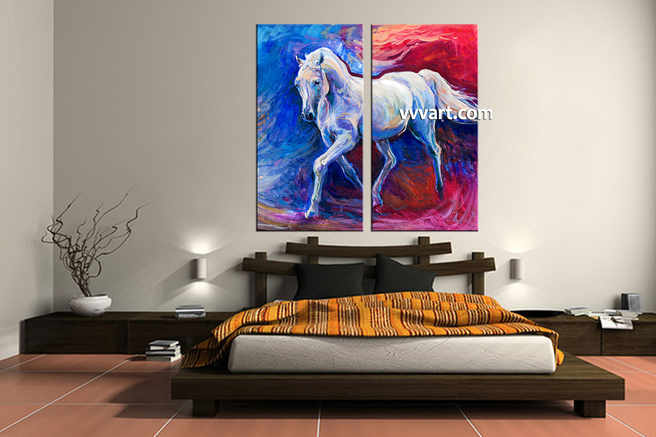 2 piece wildlife blue horse oil paintings artwork bedroom decor 2 piece wall art scenery wall art wildlife wall decor amipublicfo Image collections
