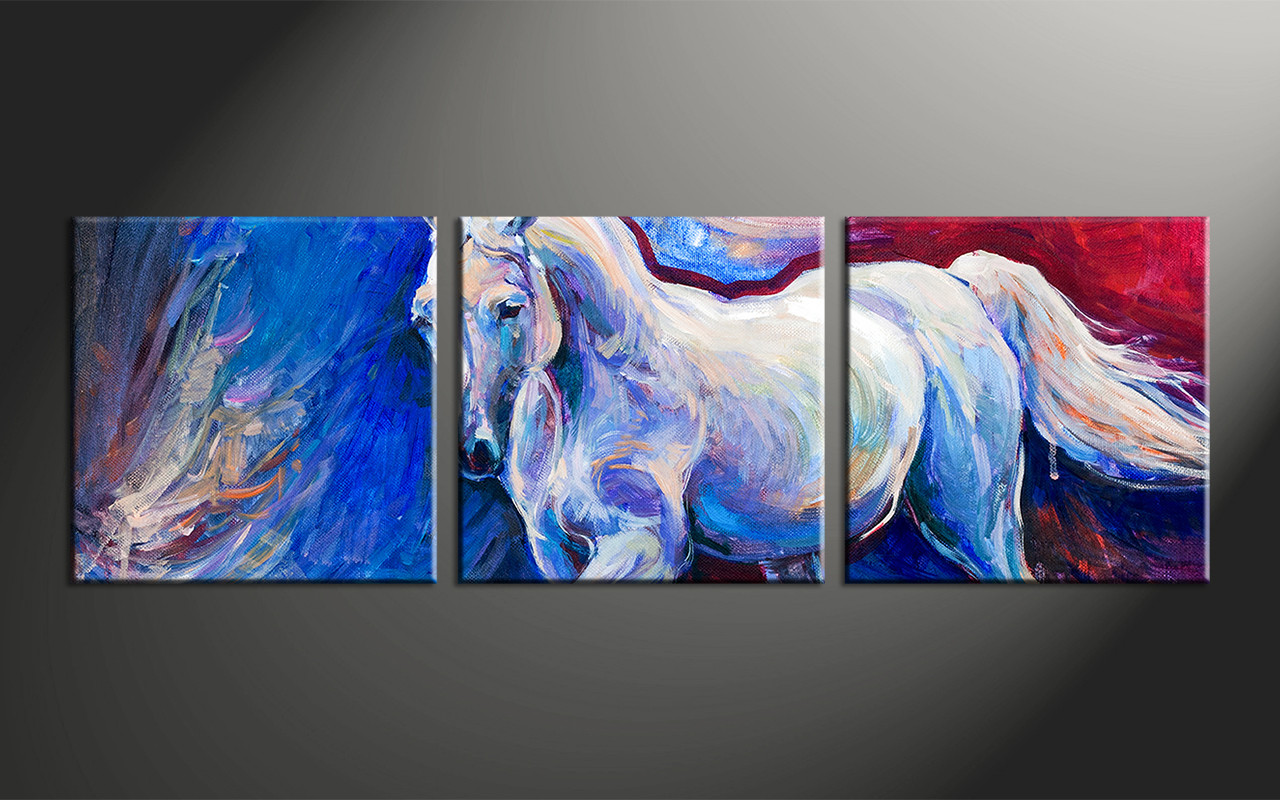 3 piece horse wildlife blue canvas wall art for Blue paintings on canvas