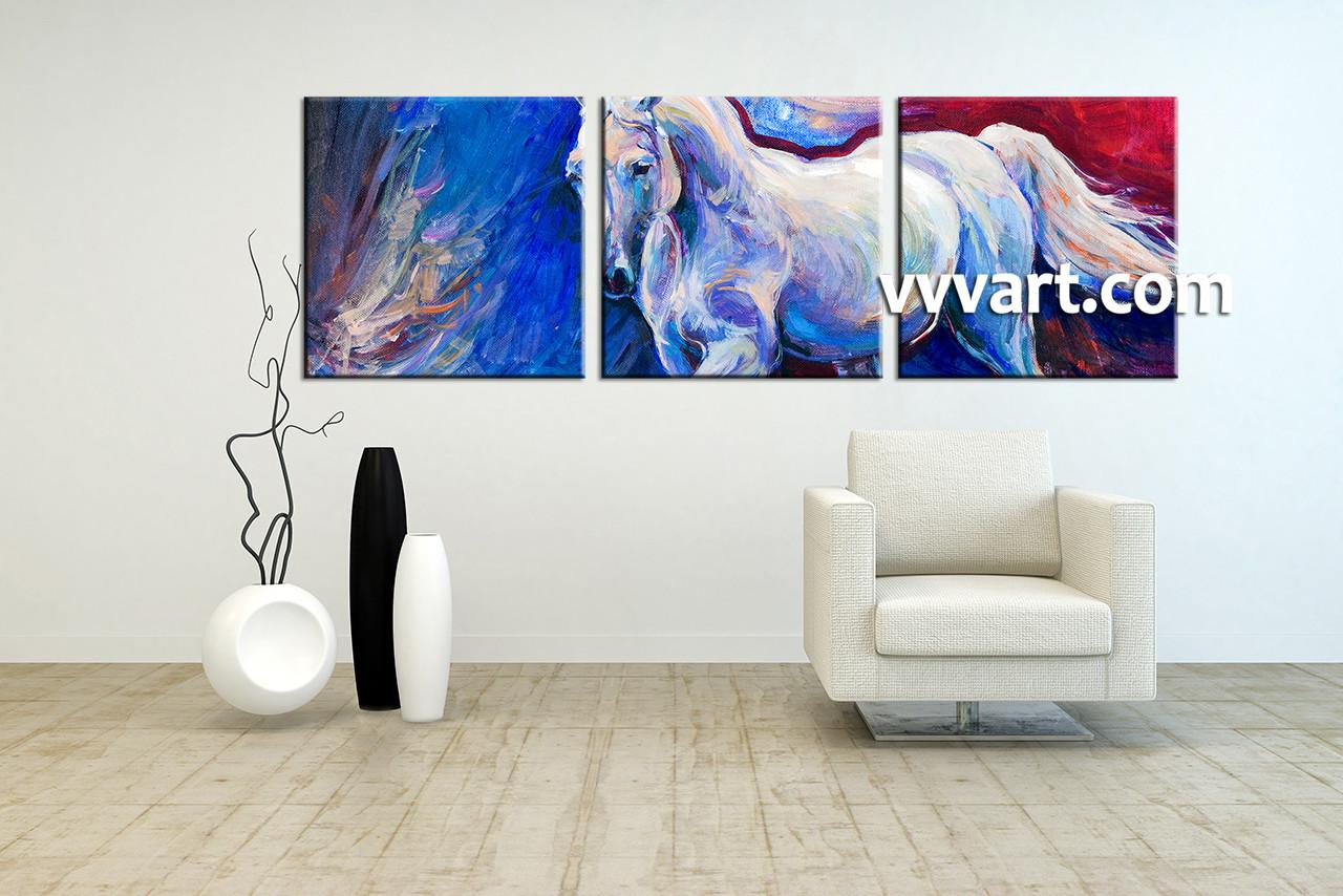 3 Piece Horse Wildlife Blue Canvas Wall Art
