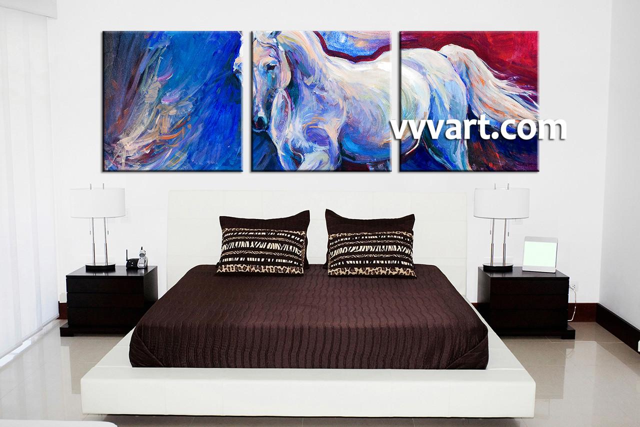 3 piece horse wildlife blue canvas wall art bedroom decor 3 piece wall art scenery wall art wildlife wall decor amipublicfo Image collections