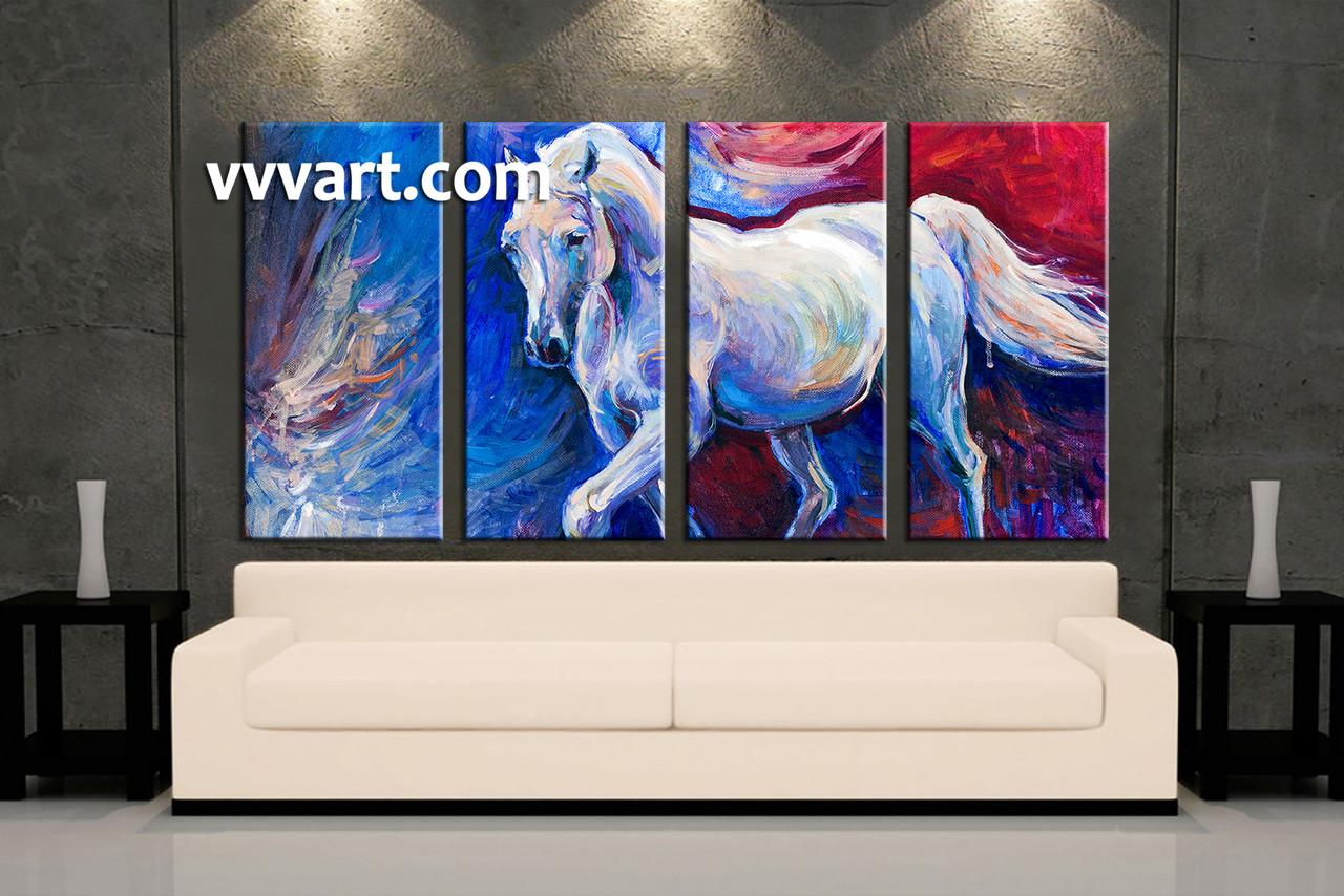 Living Room Art 4 Piece Canvas Wall Horse Decor Wildlife Artwork
