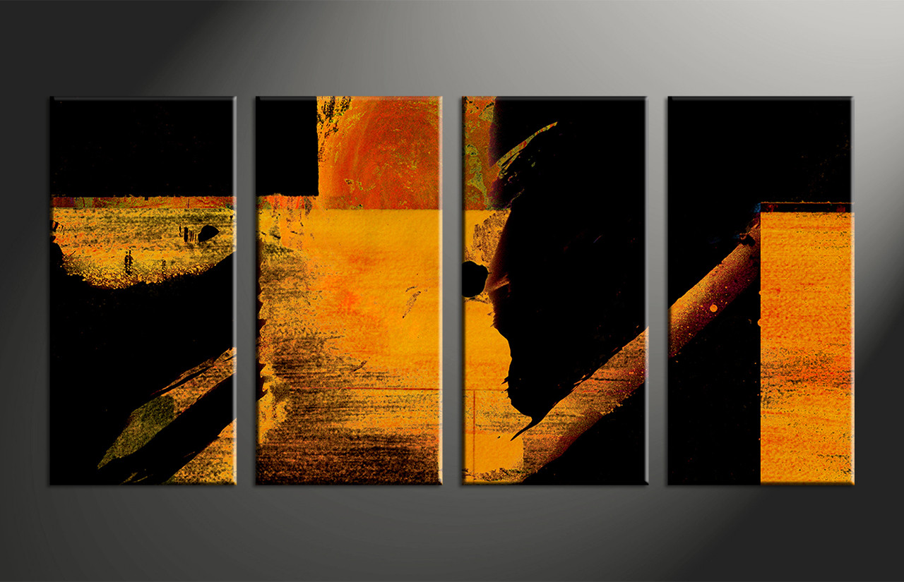 4 piece orange abstract black group canvas for Abstract painting on black canvas