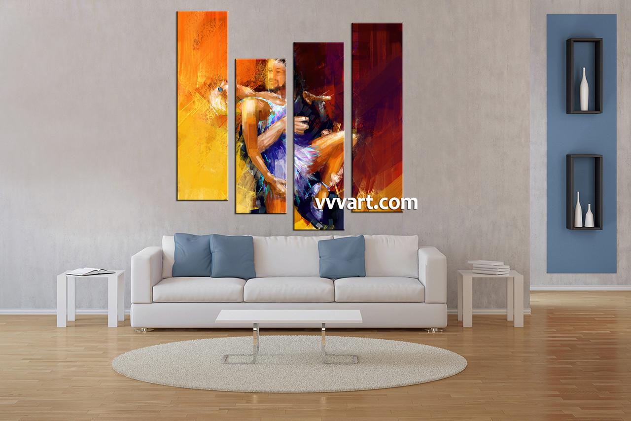 Living Room Art 4 Piece Canvas Wall Oil Decor Modern Artwork