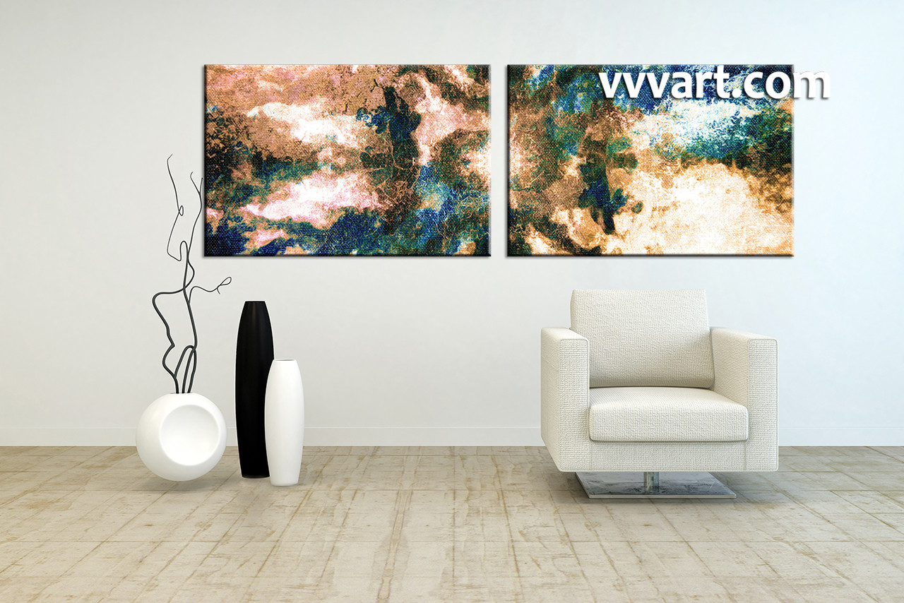 2 Piece Brown Canvas Abstract Modern Oil Paintings Artwork