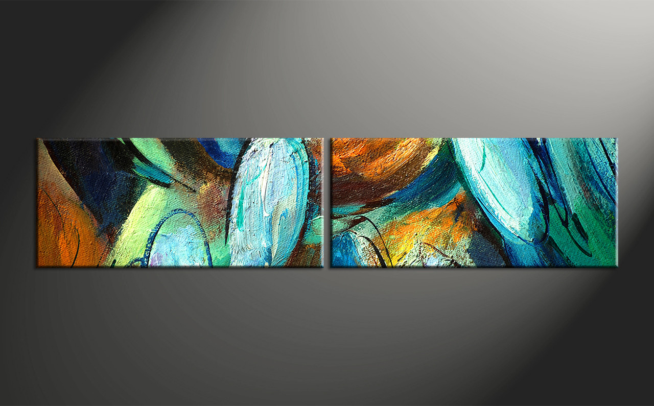 2 piece colorful abstract modern oil paintings canvas wall art for Modern art to buy