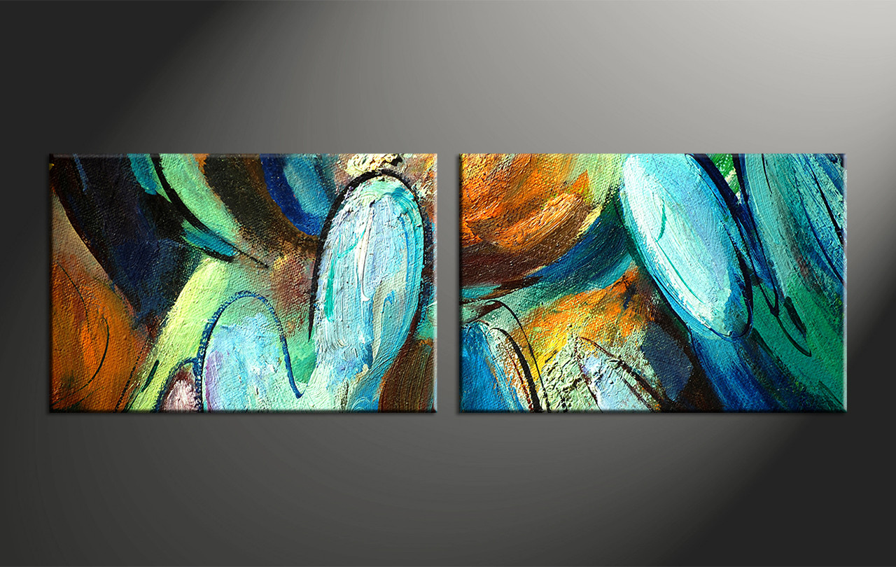 2 Piece Colorful Abstract Modern Oil Paintings Huge Canvas Art