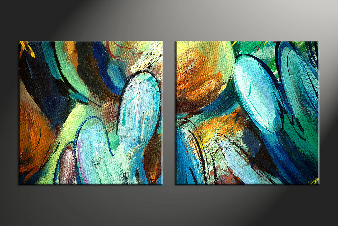 2 piece colorful canvas abstract modern oil paintings huge for Contemporary mural artists